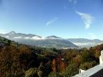 Blick ins Schwyzer Tal, Nebel dann später auch von Arth-Goldau bis Zug.